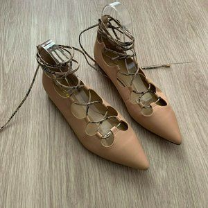 COACH Justine Flats Lace Up Pointed Toe Blush Nude